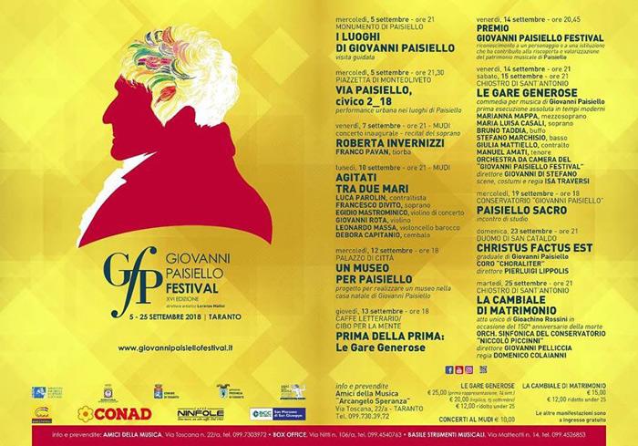 Giovanni Paisiello Festival 2018 a Taranto
