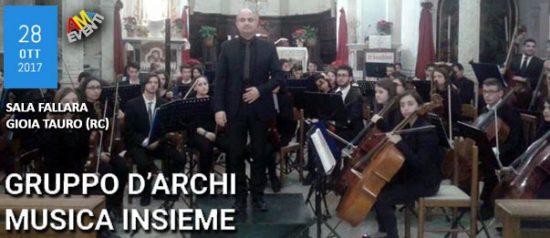 Gruppo d'archi musica insieme alla Sala Fallara a Gioia Tauro