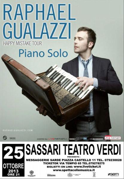 """""""Raphael Gualazzi - Piano Solo"""" Happy Mistake Tour 2013 al Teatro Verdi di Sassari"""
