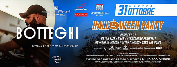 Halloween party - Samsara Beach official tour al Miu Disco Dinner a Mondolfo
