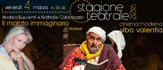 """Andrea Buscemi e Nathalie Caldonazzo """"Il malato immaginario"""" a Vibo Valentia"""