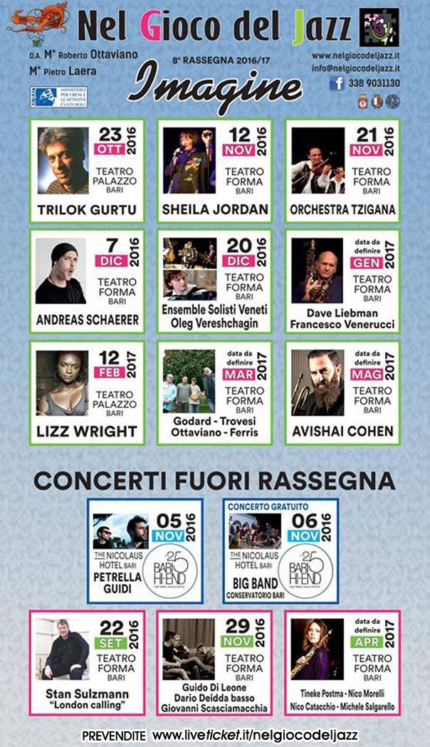 """Rassegna Musicale 2016/17 """"Imagine"""" dell'Associazione Nel Gioce del Jazz"""
