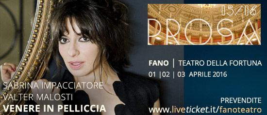 Sabrina Impacciatore e Valter Venosti in Venere in pelliccia al Teatro della Fortuna di Fano