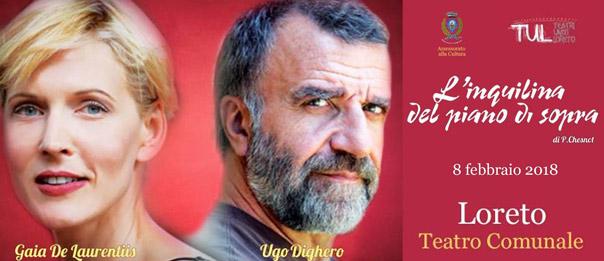 """Gaia De Laurentis e Ugo Dighero """"L'inquilina del piano di sopra"""" al Teatro Comunale di Loreto"""