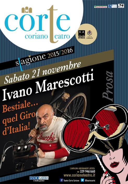 """Ivano Marescotti """"Bestiale… quel Giro d'Italia!"""" al Teatro CorTe di Coriano"""