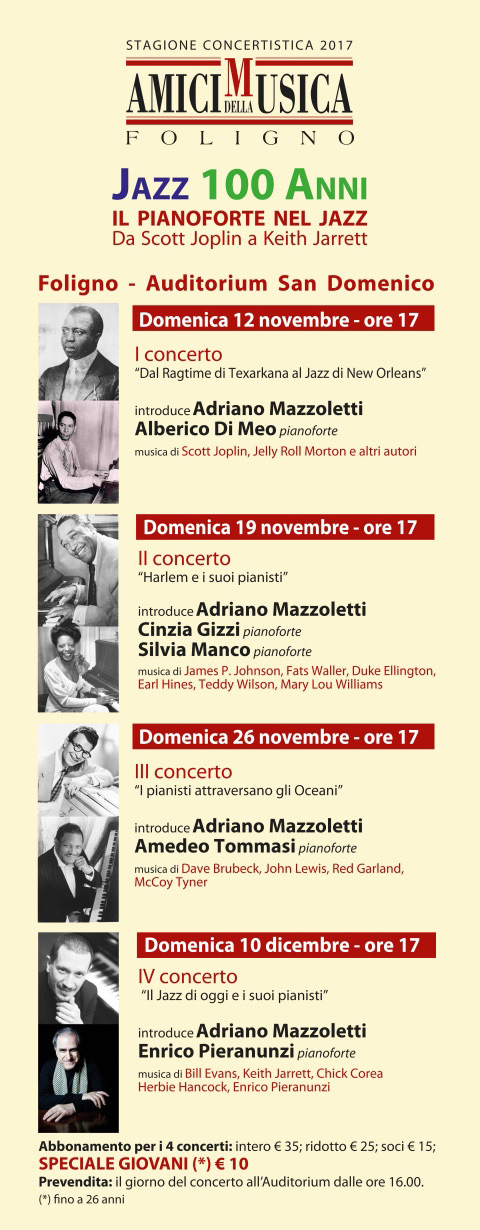 Jazz 100 anni all'Auditorium San Domenico di Foligno