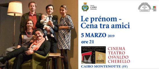Le prenom – Cena tra amici al Teatro Osvaldo Chebello di Cairo Montenotte