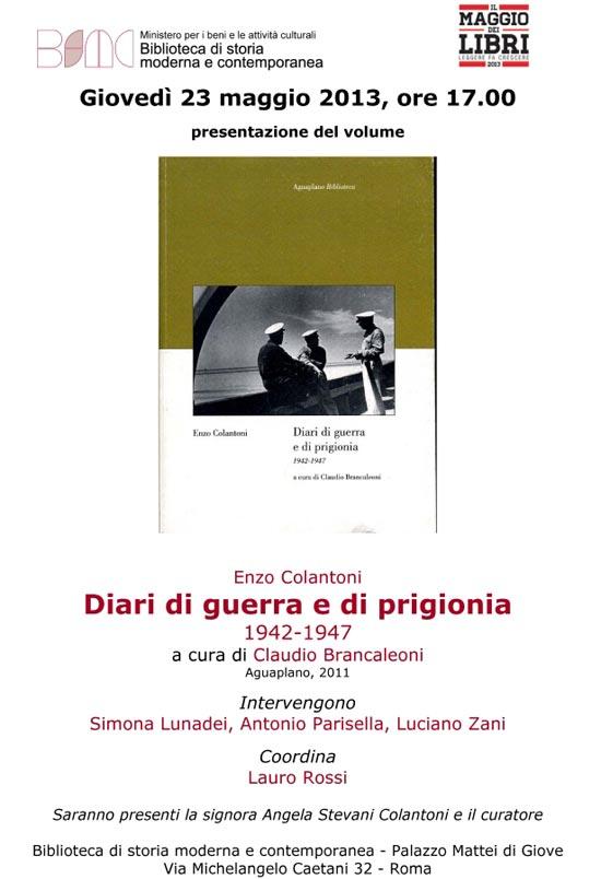 Presentazione dell'opera di Enzo Colantoni, Diari di guerra e di prigionia 1942-1947 a Roma