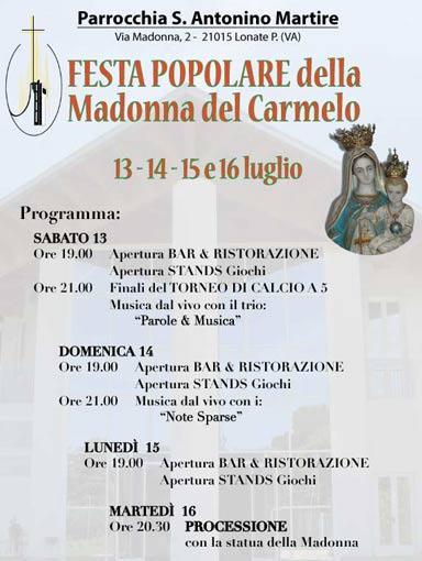 Festa popolare della Madonna del Carmelo a Lonate Pozzolo