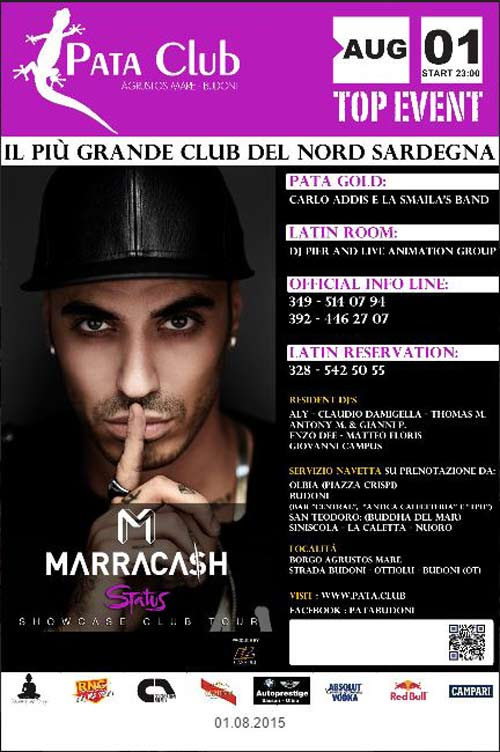 Marracash al Pata Club a Budoni