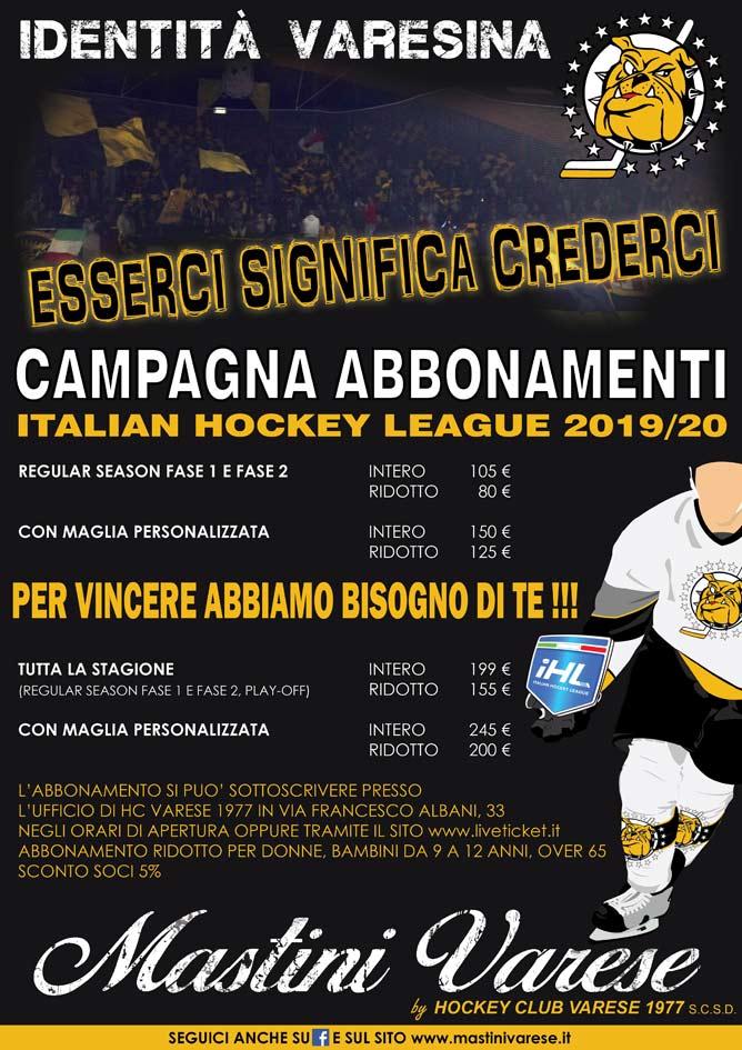 Hockey Mastini Varese Stagione 2019/20