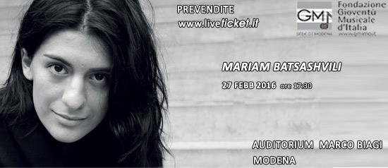 Mariam Batsashvili all'Auditorium Marco Biagi di Modena