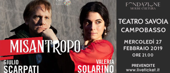 """Giulio Scarpati e Valeria Solarino """"Misantropo"""" al Teatro Savoia di Campobasso"""