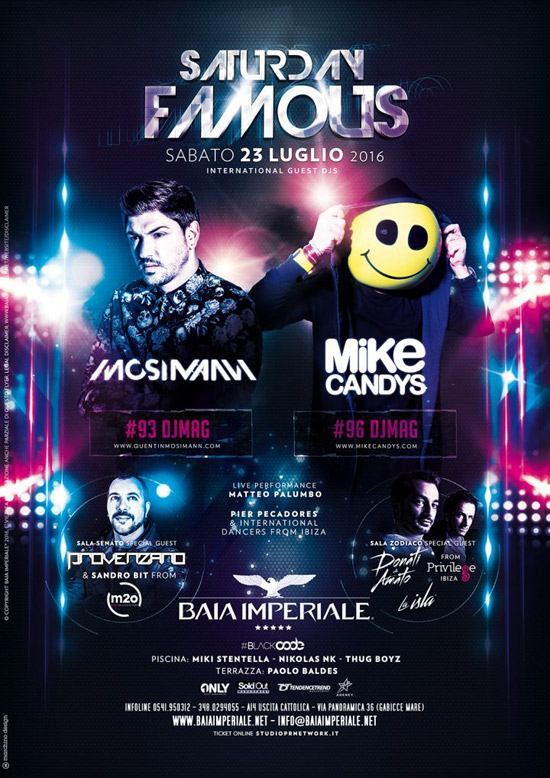 Saturday Famous: Mosimann & Mike Candys alla Baia Imperiale a Gabicce
