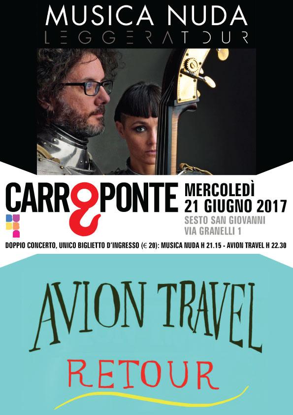 Musica Nuda e Avion Travel in doppio concerto al Carroponte di Milano