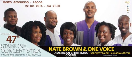 Nate Brown & One Voice al Teatro Antoniano di Lecce