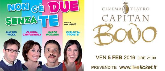 """""""Non c'è due senza te"""" al Cinema Teatro Capitan Bovo di Isola della Scala"""