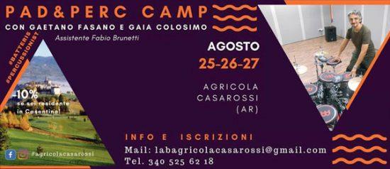 """""""PAD & PERC CAMP con Gaetano Fasano"""" a Bibbiena"""