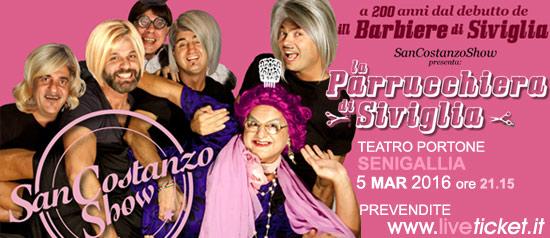 """San Costsnzo Show """"La Parrucchiera di Siviglia"""" al Teatro Portone di Senigallia"""