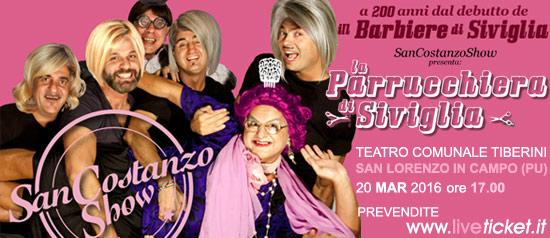"""San Costasnzo Show """"La Parrucchiera di Siviglia"""" al Teatro Tiberini di San Lorenzo in Campo"""