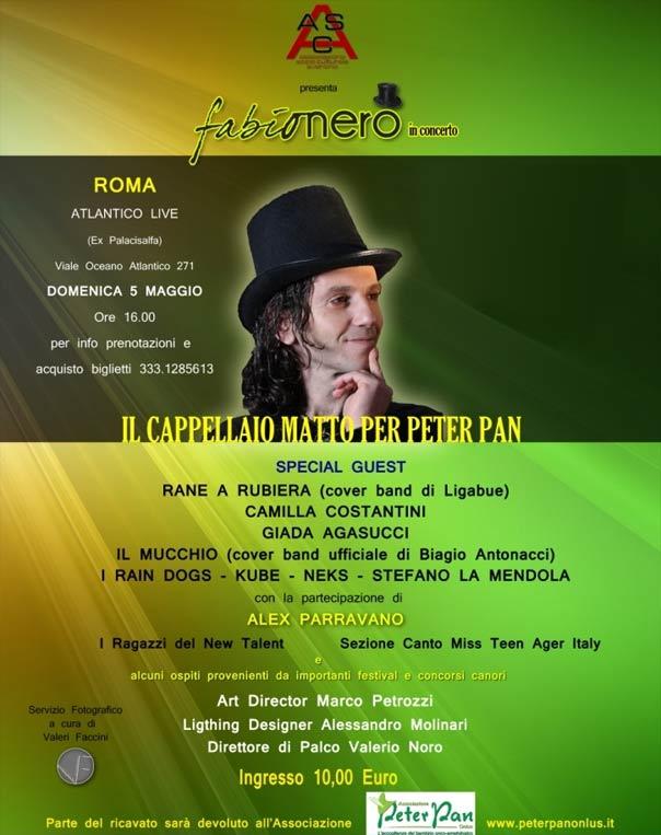 Il cappellaio matto per Peter Pan all'Atlantico Live a Roma