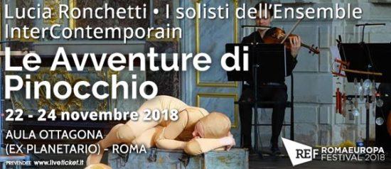 """Romaeuropa Festival 2018 – Lucia Ronchetti • I solisti dell'Ensemble InterContemporain """"Le Avventure di Pinocchio"""" all'Aula Ottagona a Roma"""