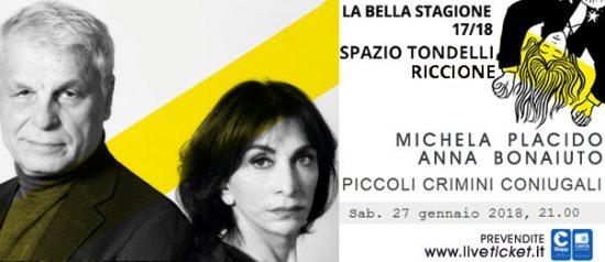 """Michele Placido e Anna Bonaiuto """"Piccoli crimini coniugali"""" allo Spazio Tondelli di Riccione"""
