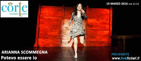 """Arianna Scommegna """"Potevo essere io"""" al Teatro CorTe di Coriano"""