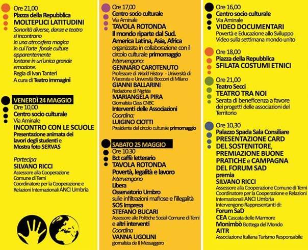 """programma """"Social World. Forum della Cooperazione e della Solidarietà"""" a Terni"""