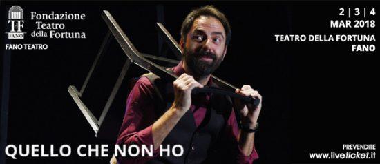 """Neri Marcorè """"Quello che non ho"""" al Teatro della Fortuna a Fano"""