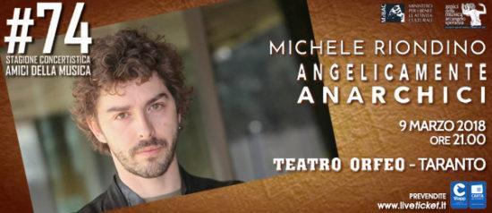 """Michele Riondino """"Angelicamente anarchici""""al Teatro Orfeo di Taranto"""