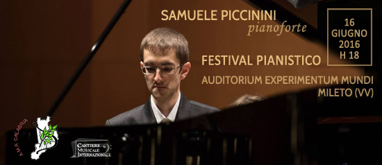 """Festival Pianistico """"Samuele Piccinini"""" all'Auditorium Experimentum Mundi di Mileto"""