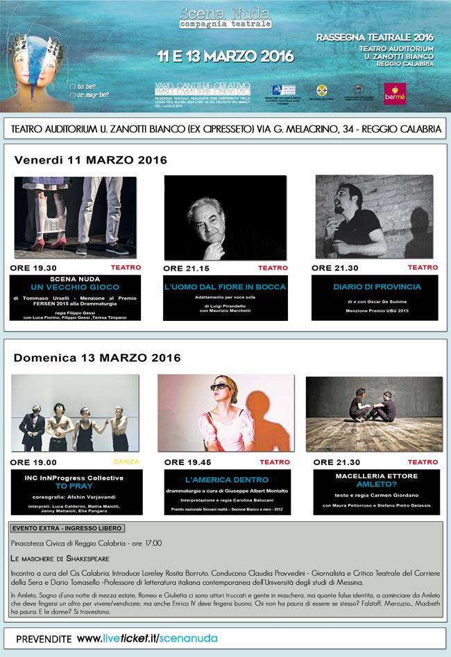 """Scena Nuda """"Rassegna Teatrale 2016"""" a Reggio Calabria"""