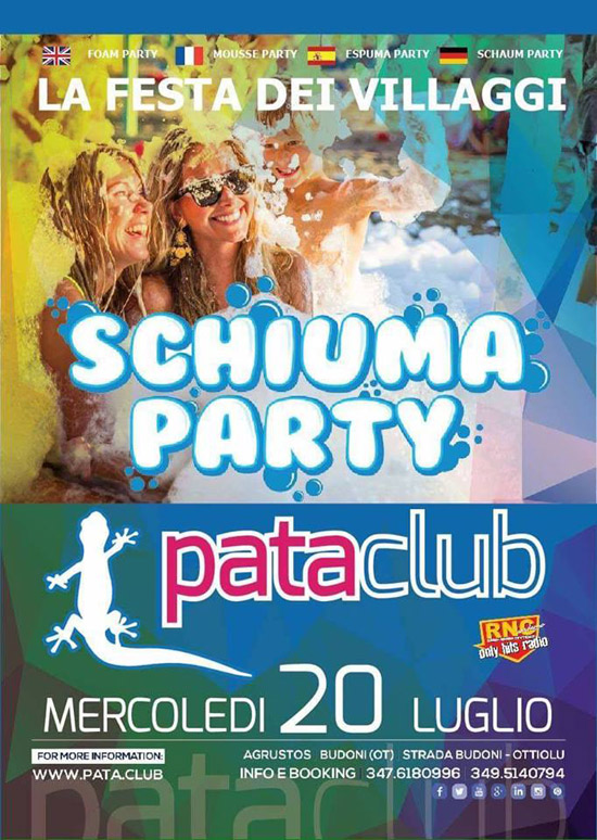 Schiuma Party al Pata Club di Budoni