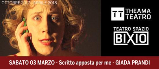 """Giada Prandi """"Scritto apposta per me"""" al Teatro Spazio Bixio di Vicenza"""