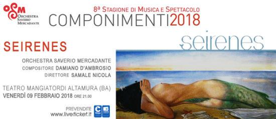 """Componimenti 2018 """"Seirenes"""" al Teatro Mangiatordi di Altamura"""