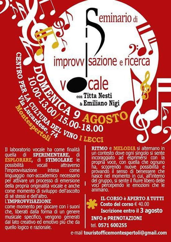Seminario di Ricerca e Improvvisazione Vocale a Montespertoli