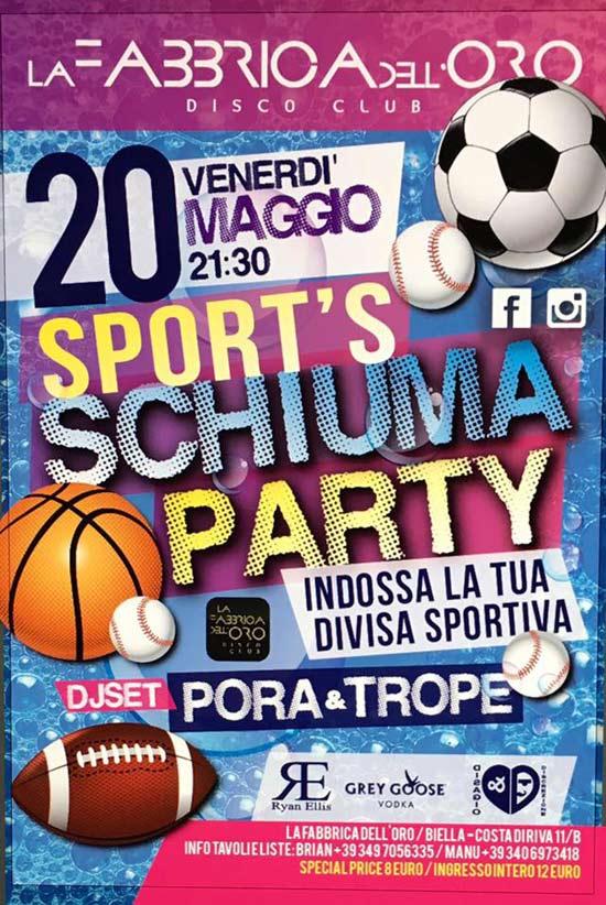 Sport's Schiuma Party a La fabbrica dell'Oro a Biella