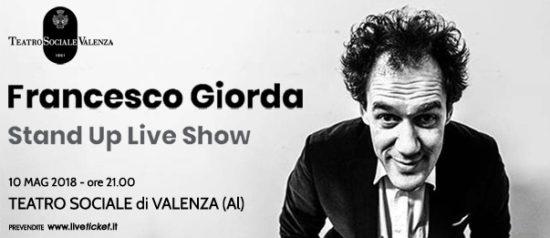 "Francesco Giorda ""Stand up live show"" al Teatro Sociale a Valenza"