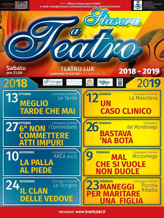 Stasera a teatro 2018-19