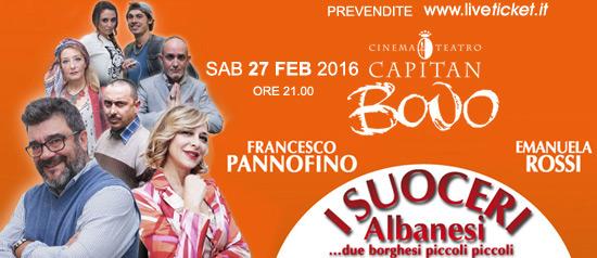 """Pannofino e Rossi """"I suoceri albanesi"""" al Cinema Teatro Capitan Bovo di Isola della Scala"""