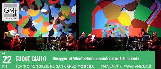 """Suono Giallo """"Omaggio ad Alberto Burri""""al Teatro San Carlo a Modena"""