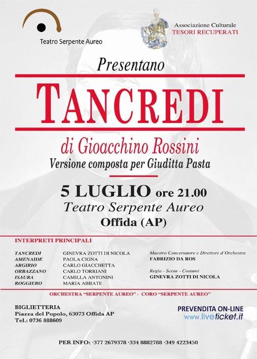 Tancredi di Gioachino Rossini al Teatro Serpente Aureo di Offida