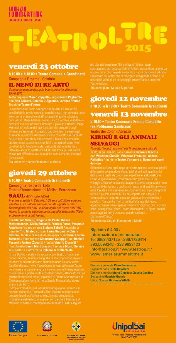 "Teatroltre 2015 ""Vetrina teatro ragazzi"" a Lamezia Terme"