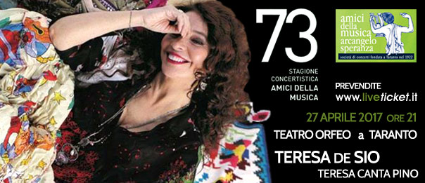 "Teresa De Sio ""Teresa canta Pino"" al Teatro Orfeo di Taranto"