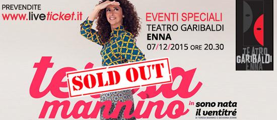 """Teresa Mannino """"Sono nata il ventitré"""" al Teatro Garibaldi di Enna"""