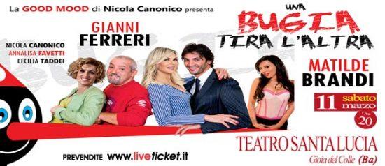 """Gianni Ferreri e Matilde Brandi """"Una bugia tira l'altra"""" al Teatro Santa Lucia di Gioia del Colle"""