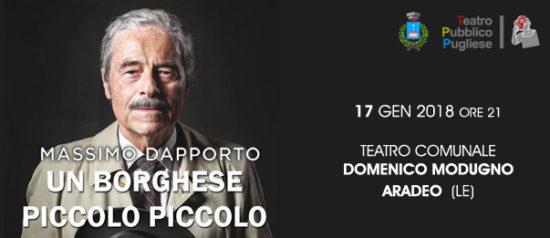 """Massimo Dapporto """"Un borghese piccolo piccolo"""" al Teatro Domenico Modugno di Aradeo"""