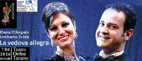 """Elena D'Angelo e Umberto Scida """"La vedova allegra"""" al Teatro Orfeo di Taranto"""