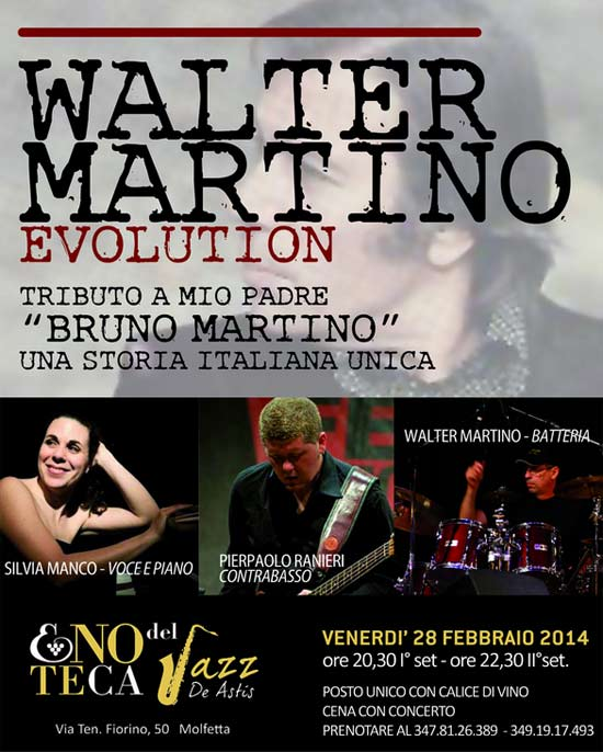 Walter Martino Evolution Trio all'Enoteca del jazz a Molfetta